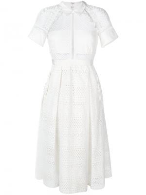 Ажурное платье-миди Self-Portrait. Цвет: белый