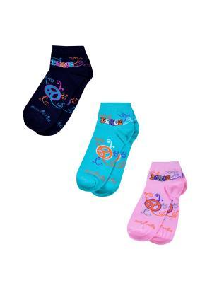 Носки женские,комплект 3шт Malerba. Цвет: черный, голубой, розовый
