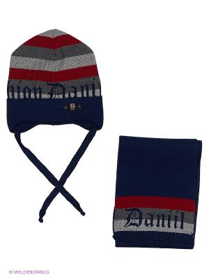 Комплект (шапка и шарф) Dan&Dani. Цвет: темно-синий