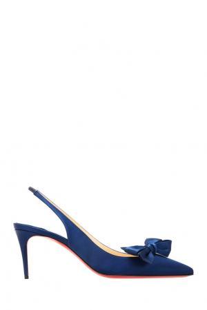 Туфли с шелковой отделкой Yasling 70 Christian Louboutin. Цвет: синий