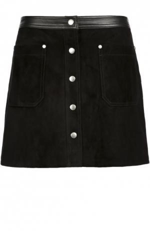 Замшевая мини-юбка с кожаной отделкой и накладными карманами Rag&Bone. Цвет: черный