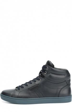 Высокие кожаные кеды London на шнуровке Dolce & Gabbana. Цвет: темно-синий