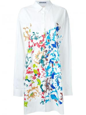 Front print long shirt Mikio Sakabe. Цвет: белый