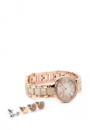 Комплект серьги и часы Fossil. Цвет: золотой