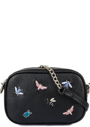 Маленькая кожаная сумка с вышивкой Curanni. Цвет: черный