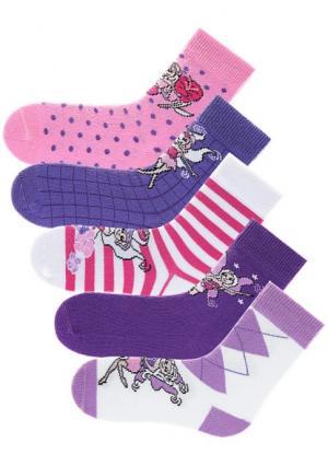 Носки, 5 пар GO IN. Цвет: ярко-розовый в полоску+в горох+белый/ромбы+лиловый в клетку+темно-лиловый