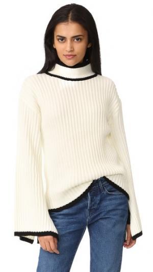 Трикотажный свитер с завязками на манжетах ENGLISH FACTORY. Цвет: кремовый/черный