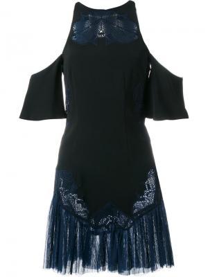 Платье с вырезами на плечах и вышивкой Jonathan Simkhai. Цвет: чёрный