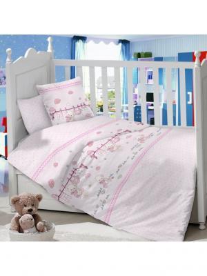 Комплект Постельного Белья В Кроватку Из Сатина (Простыня На Резинке) Ивбэби. Цвет: малиновый, бледно-розовый, розовый