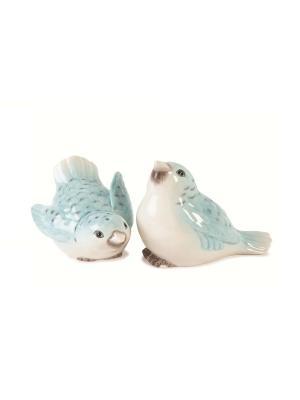 Соль и перец птицы Вечерний сад Elff Ceramics. Цвет: белый, зеленый, голубой