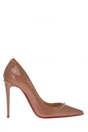 Бежевые туфли с шипами Anjalina 100 Christian Louboutin. Цвет: none