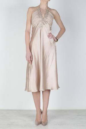 Шелковое платье Collette Dinnigan. Цвет: бежевый
