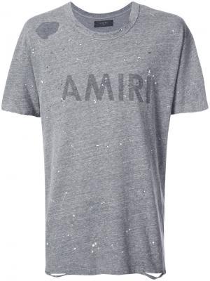 Футболка с логотипом Amiri. Цвет: серый