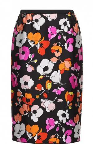 Шелковая юбка-карандаш с цветочным принтом Oscar de la Renta. Цвет: разноцветный
