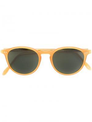 Солнцезащитные очки с круглой оправой Pantos Paris. Цвет: жёлтый и оранжевый
