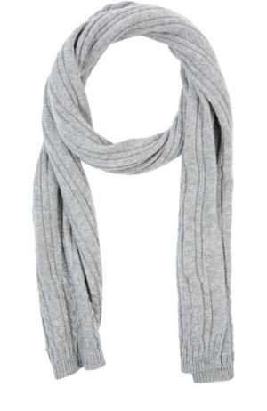 Кашемировый шарф фактурной вязки Johnstons Of Elgin. Цвет: светло-серый
