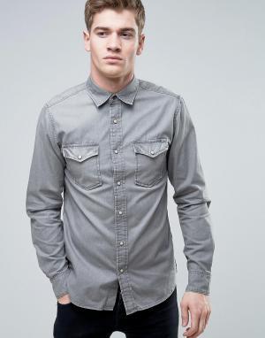 Jack & Jones Серая джинсовая рубашка в стиле вестерн Vintage. Цвет: серый
