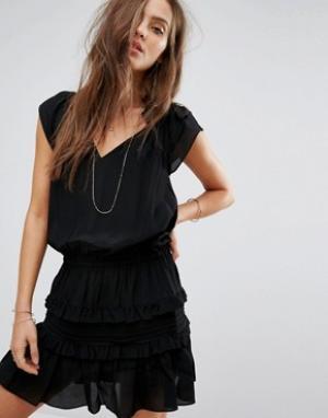 BA&SH Ярусное платье. Цвет: черный