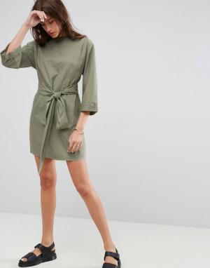 ASOS Повседневное платье мини с поясом на талии. Цвет: зеленый