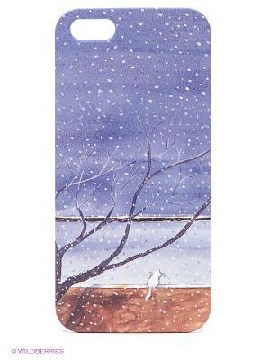 Чехол для IPhone 5 Котик под деревом Mitya Veselkov. Цвет: синий, красный, желтый