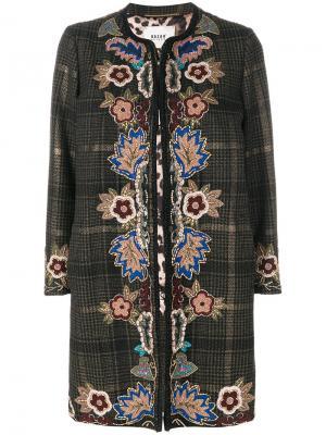Пальто в клетку с вышивкой Bazar Deluxe. Цвет: металлический