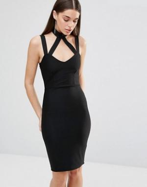 Rare Облегающее платье с перекрестными лямками. Цвет: черный