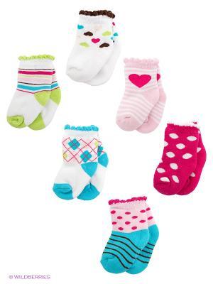 Носки, 6 пар Luvable Friends. Цвет: розовый, белый, голубой
