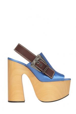 Босоножки-сабо с атласным верхом Rochas. Цвет: голубой