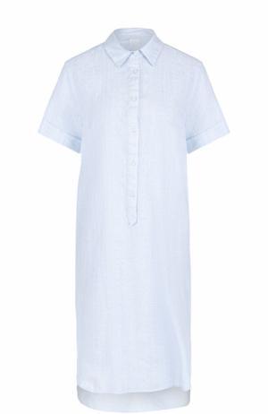 Платье-рубашка с удлиненной спинкой и вышивкой 120% Lino. Цвет: голубой