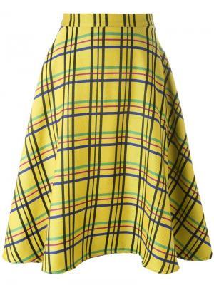 Расклешенная юбка в клетку Ultràchic. Цвет: жёлтый и оранжевый