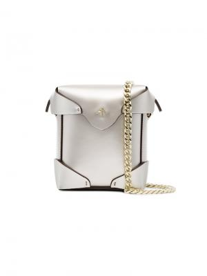 Микро сумка через плечо Pristine Manu Atelier. Цвет: металлический