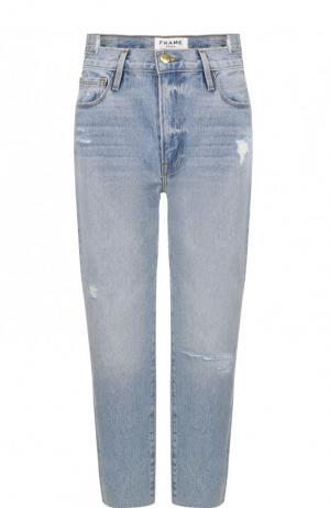 Укороченные брюки с потертостями Frame Denim. Цвет: голубой