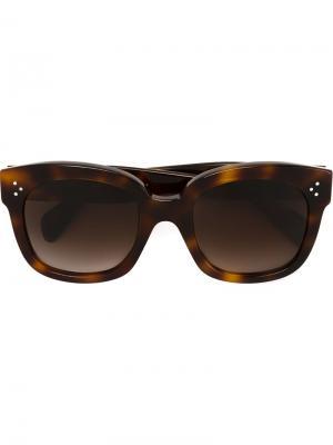 Солнцезащитные очки в черепаховой оправе Céline Eyewear. Цвет: коричневый