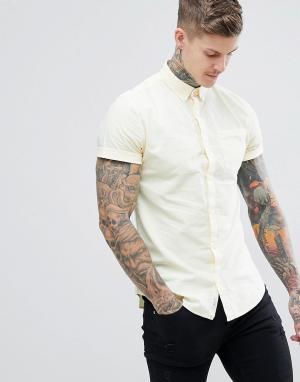 River Island Желтая приталенная рубашка с эффектом кислотной стирки. Цвет: желтый