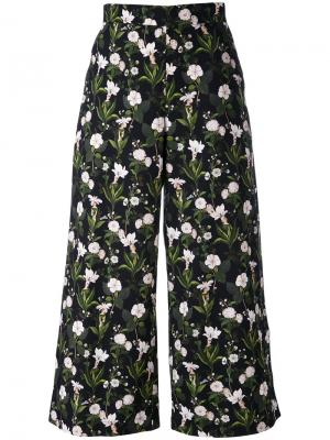 Укороченные брюки с цветами Vivetta. Цвет: чёрный