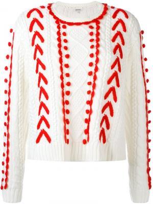 Вязаный свитер с узором Manoush. Цвет: белый