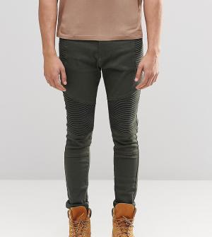 Liquor N Poker Зауженные байкерские джинсы цвета хаки. Цвет: зеленый