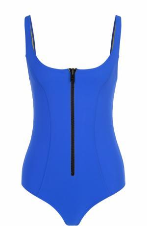 Слитный купальник с декоративной молнией и открытой спиной Lisa Marie Fernandez. Цвет: синий
