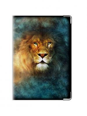 Обложка на паспорт кожа Лев Tina Bolotina. Цвет: лазурный, желтый