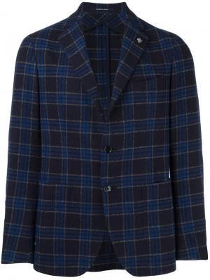 Клетчатый пиджак Tagliatore. Цвет: синий