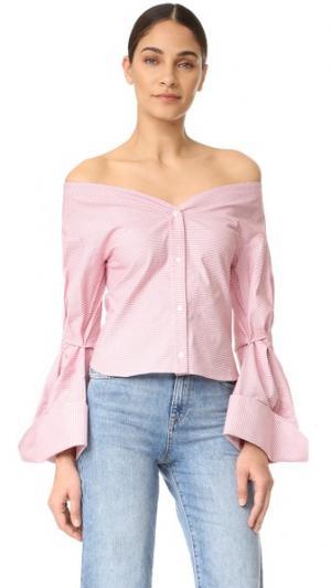 Блуза с открытыми плечами Jacquemus. Цвет: в красную клетку