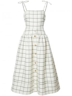 Расклешенное платье в клетку Rejina Pyo. Цвет: белый