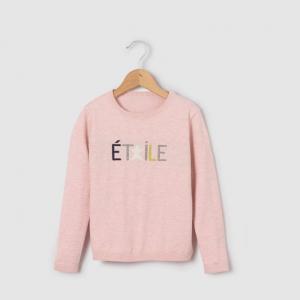 Пуловер с жаккардовым принтом звезда 3-12 лет R essentiel. Цвет: розовый меланж