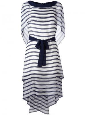 Прозрачное платье в полоску Alberta Ferretti. Цвет: синий