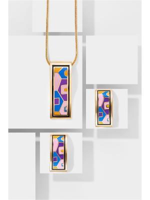 Набор украшений Город Солнца: цепочка с кулоном и серьги Nothing but Love. Цвет: золотистый, розовый, фиолетовый