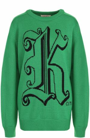 Шерстяной пуловер с круглым вырезом и принтом Christopher Kane. Цвет: зеленый