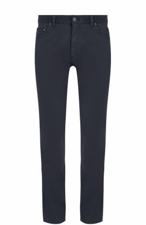 Хлопковые брюки прямого кроя Paul&Shark. Цвет: темно-синий
