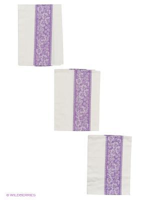 Набор полотенец лен Метиз. Цвет: белый, фиолетовый