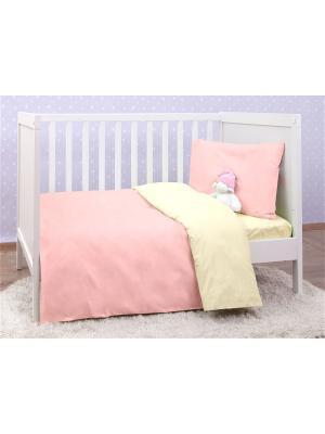Постельное белье в кроватку (трикотаж) MIRAROSSI. Цвет: бледно-розовый, розовый