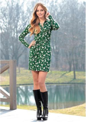 Платье Y.O.U.. Цвет: зеленый/белый с рисунком